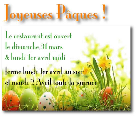 Tout l'équipe du Lamparo vous souhaite de Joyeuses Pâques !  Réservez : le restaurant est ouvert le dimanche 31 mars et lundi 1er avril ... nous vous attendons