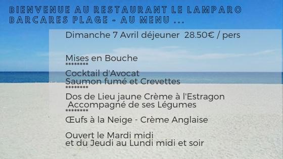Au menu Dimanche 7 avril déjeuner ...