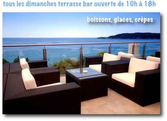 tous les dimanches terrasse bar ouverte de 10h à 18h : boissons, glaces, crèpes