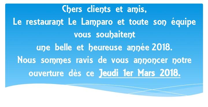 Toute l'équipe du Lamparo vous souhaite une belle année et vous donne rendez-vous à partir du 1er mars 2018