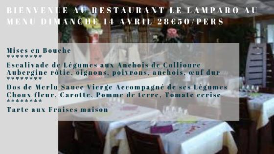 Au menu Dimanche 14 avril déjeuner ...