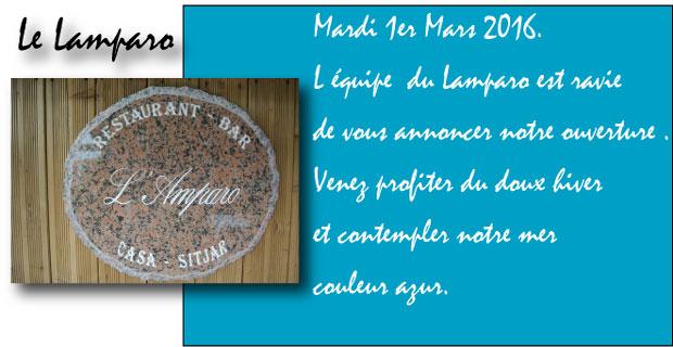 Mardi 1er Mars. Le Lamparo vous ouvre ses portes pour une nouvelle année gustative !