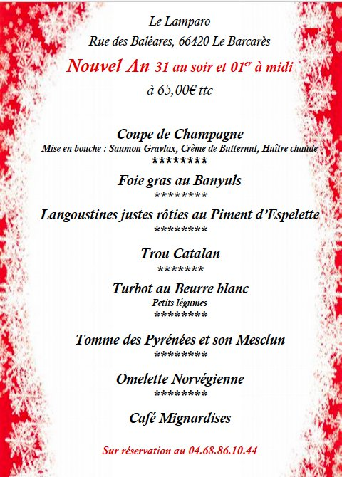 Menu du Nouvel AN
